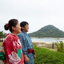 【景観】菊ヶ浜からは、国指定史跡萩城跡、沖合いにはなど多くの島々を眺めることができます♪