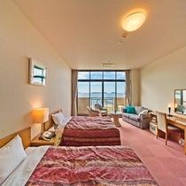 【オーシャンビュー・2階】洋室(45平米/ベッド幅125cm)一例