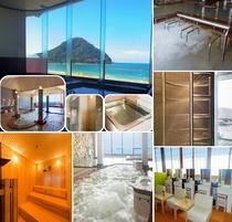 パノラマ展望大浴場/打たせ湯・サウナなど5つの設備があり、種類も豊富!女性脱衣室にはドレッサーも設置