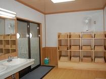 脱衣所の一例。浴室の割には広く設計しています。