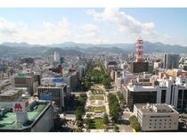 テレビ塔展望台から大通公園の眺望