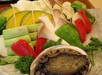 アワビと野菜