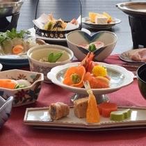 お食事プランの一例、三元豚陶板付会席