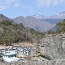 鶏頂山を望む鬼怒川の流れ