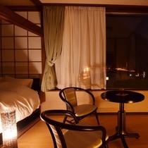 ファミリールーム、寝室の窓から鬼怒川の夜景。
