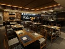 【1階ボンサルーテKABUKI】店内は和のディテール・テースト