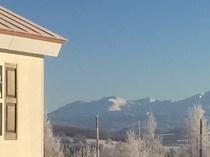 コテージ棟横の大雪山連峰
