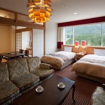 【エグゼクティブデラックス】65m2+和室8畳とスイートの次に広いお部屋、ごゆっくりとお寛ぎください