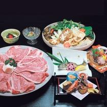 【近江牛すき焼き】近江牛をはじめ、新鮮なイワナの塩焼きもご用意いたします。