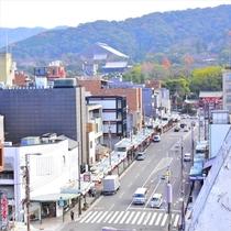 屋上バックヤードから撮影 右上に八坂さんが見えます。