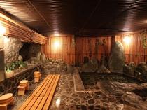 夢酔庵 地下の貸切風呂「薬王湯」湯原の温泉をかけ流しでご利用いただきます。