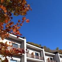 紅葉に囲まれた当館