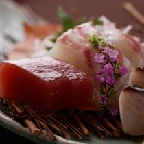 四季折々、厳選された旬の魚介類をお造りで ※料理一例
