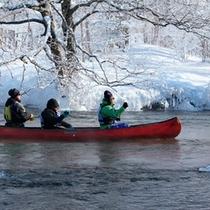 *冬/厳寒の中のカヌークルーズ。ドライスーツを着てしっかりと防寒します!