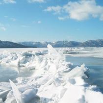 *冬/屈斜路湖に浮かぶ氷。寒いですが、幻想的な風景を楽しめるお勧めの季節です!