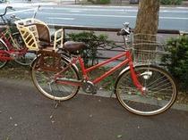 貸出無料の自転車(チャイルドシート付き)