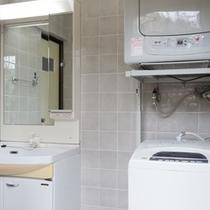 洗面台の横には専用洗濯機と乾燥機あり