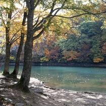 *蔵王温泉街のすぐ脇にある「盃湖」。カヌースクールやわかさぎ釣りを開催。