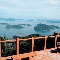 大崎上島の神峰山からの眺望 瀬戸内海随一の多島美をご覧いただけます。