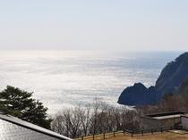 【館内からの眺め】天気の良い日はキラキラと輝く太平洋を見ることができます。