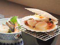 【春・夏の夕食一例:くろさき】帆立焼き。ミネラルが豊富な帆立はカラダに嬉しい食材です。