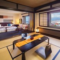 ■スイートルーム■58.8平米・禁煙セミダブルベット2台を配した洋室と和室を兼ねそろえた特別室