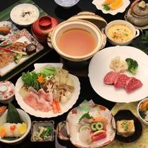 【夕食一例】季節の食材を取り入れた和洋折衷会席です