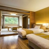 【スタンダード和洋室】機能的なベッドルームと寛ぎの和室を備えております。
