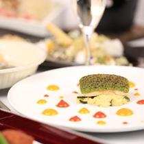 【夕食一例】シャンパンから始まる「D+」だけのオリジナル和洋折衷会席。