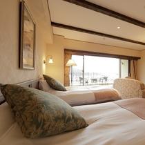 全室シモンズ社のベッドをご用意。最高の寝心地をご堪能ください。