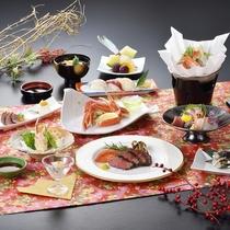 石見の旬の食材を使用したこだわりの会席料理13品【夕食一例/グレードアッププラン】