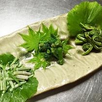 *夕食一例/お料理は山の幸が豊富!山菜や野菜など、季節ごとの旬をお楽しみください。