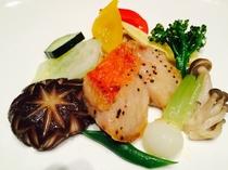 伊豆稲取金目鯛と修善寺原木椎茸のフォアグラ焼き