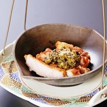 【梅・絢】信州ポークのステーキ、蕗味噌を添えてどうぞ(季節により変更)