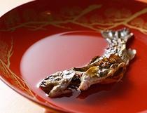 オプションの御品書き一例:岩魚の骨酒(二合入)