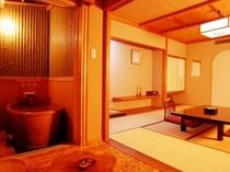 【陶器露天風呂付客室】こぢんまりとした陶器の露天風呂がついた10畳タイプのお部屋です。