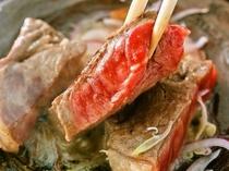 【作州牛ステーキ】地元岡山県産の作州牛を使ったボリュームたっぷりのステーキです。