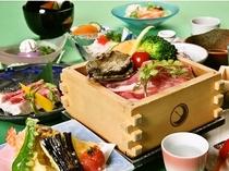 鮑・黒豚の日本酒蒸篭蒸し 一例