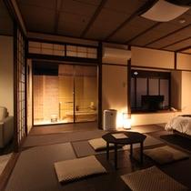 2015年3月改装 壱の棟・源泉かけ流し露天風呂付和室モダンルーム60平米(ツインベット)