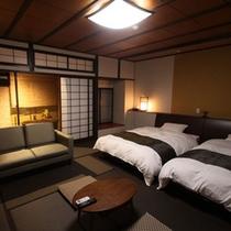 壱の棟・源泉かけ流し露天風呂付き和室モダンルーム47平米(ツインベット)
