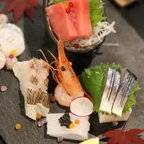 (晩秋)造り  地魚きときと盛り合わせ 生野菜一式