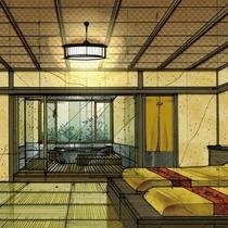 NEW・弐の棟・源泉かけ流し展望露天風呂付和室モダンルーム47平米