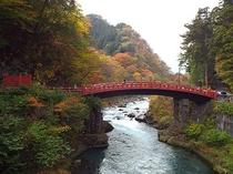 """世界遺産の紅葉の""""神橋"""""""