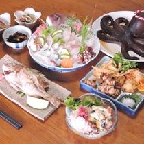*【夕食一例】有明海で水揚げされた新鮮な魚介類に舌鼓