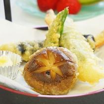 海老の変わり揚げと季節の天ぷら【夕食通常コース】