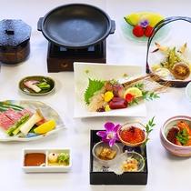夕食は特製の和食コース