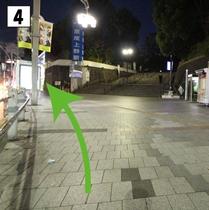 ④ファミリーマートをすぎえ京成上野駅方面へ