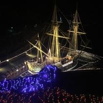 *サンファンパーク/国内最大級のガレオン船の復元船が夜は美しくライトアップされています☆