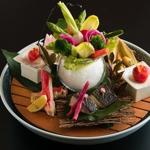 伊豆高原で作った「温泉レタス」ほか、新鮮な野菜もたくさん頂けます