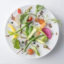 ディナーコース一例 温野菜と黒オリーブソース